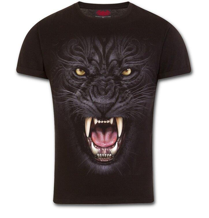 Slim fit tričko s motívom Nahnevaný panter