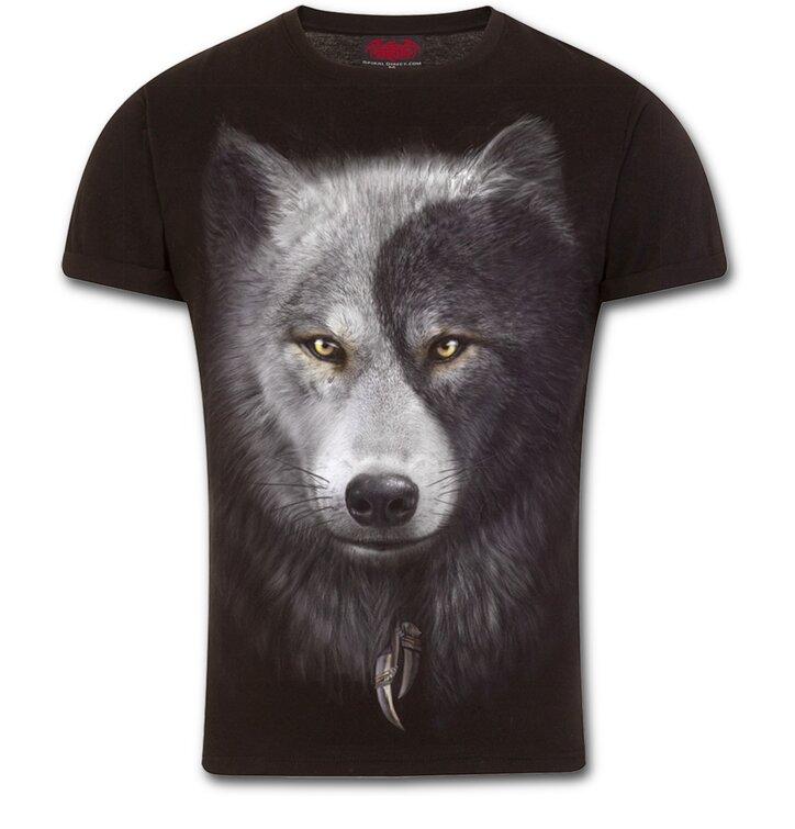 Slim fit tričko s motívom Tvár vlka