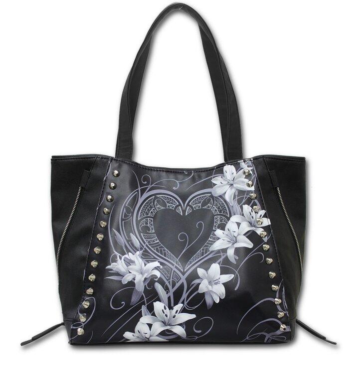 Černá taška na rameno Bílé květy
