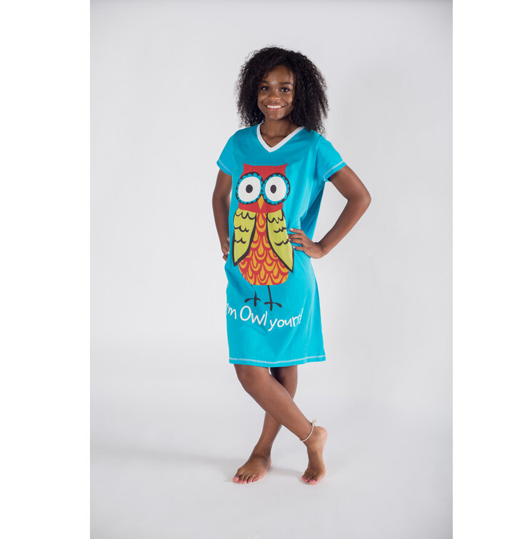 514c9b81e0 Original gift Ladies  V-neck Nightshirt Owl