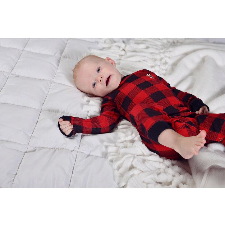 Eredeti ajándék a Dedolestől Egyrészes Piros-Fekete Gyermek Pizsama -  Kockás - Csecsemő 4361102df0