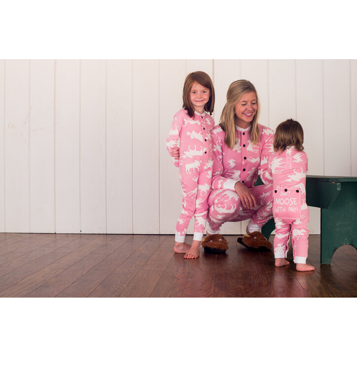 012323efda a tökéletes és egyedi ruházathoz Egyrészes Kék Gyermek Pizsama –  Jávorszarvasok – Rózsaszín - Csecsemő