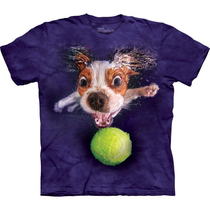 Kids T-shirt Playful Dog under Water Cavalier - violet