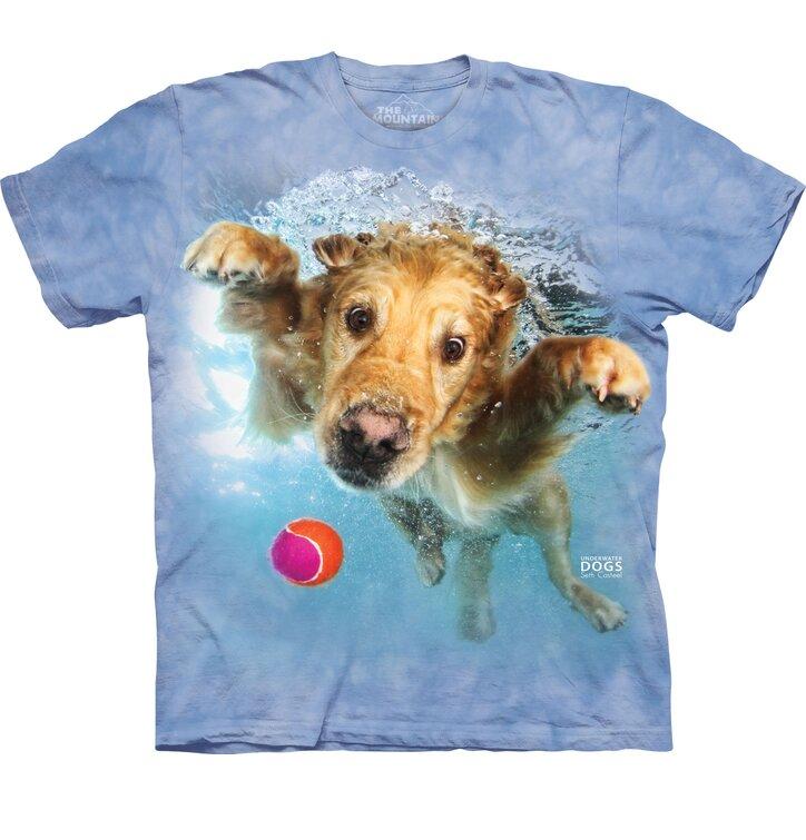 Kids T-shirt Playful Dog under Water Golden Retriever - blue