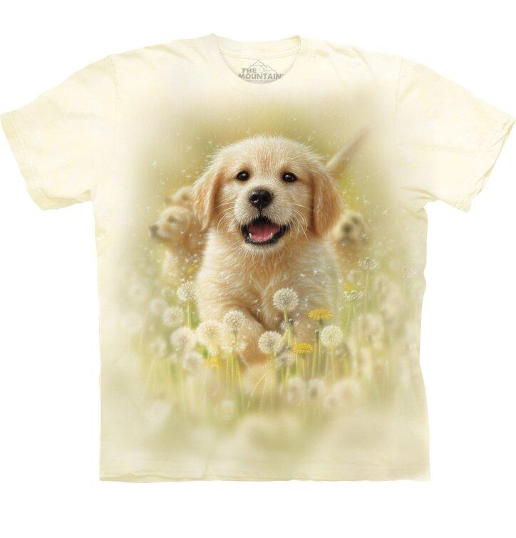 Kids T Shirt With Short Sleeve Golden Retriever Puppy Dedoles