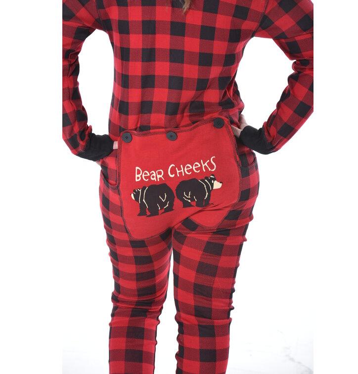 Výprodej Červený károvaný pyžamový overal Medvědí zadečky 602fdefc5b