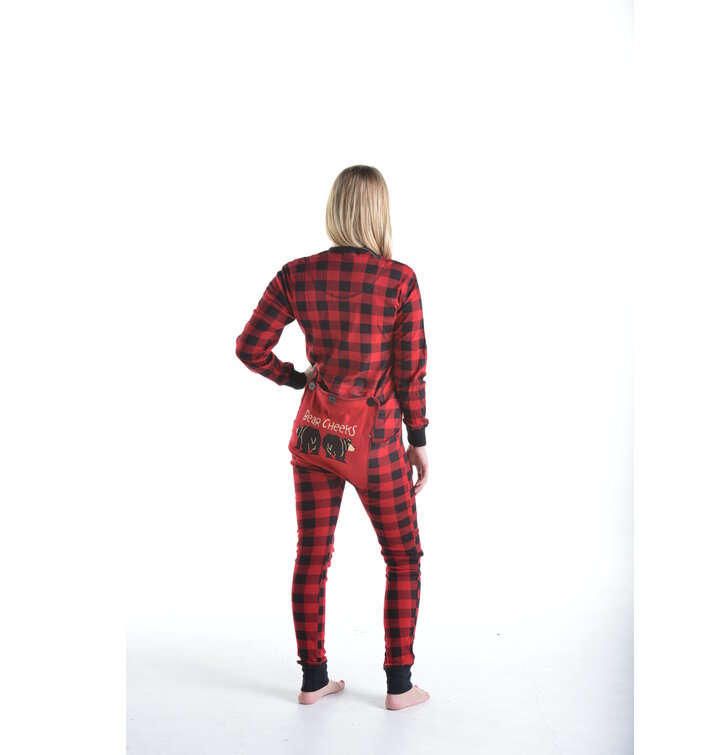 Sleva Červený károvaný pyžamový overal Medvědí zadečky 6f29816d22