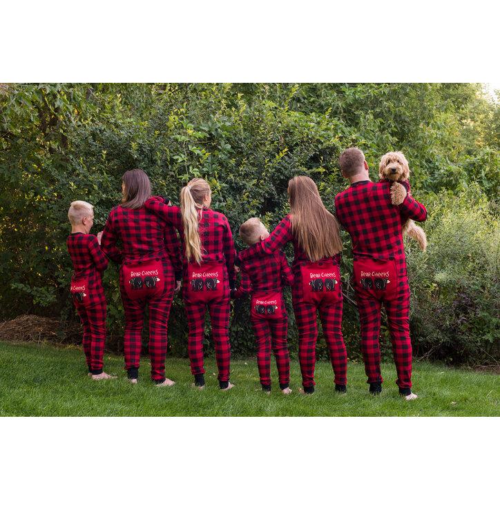 Tip na dárek Červený károvaný pyžamový overal Medvědí zadečky ce0b462936