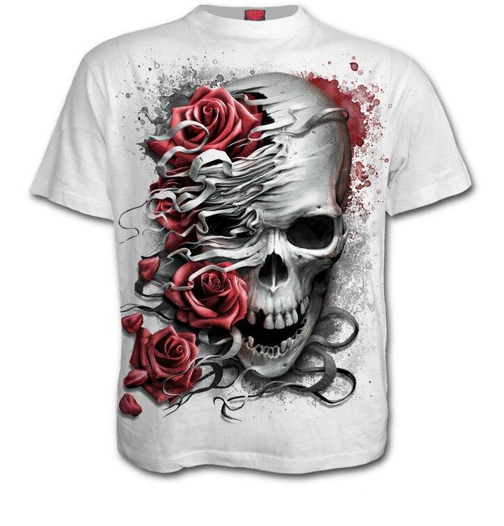 Tricou alb mânecă scurtă Craniu şi trandafiri