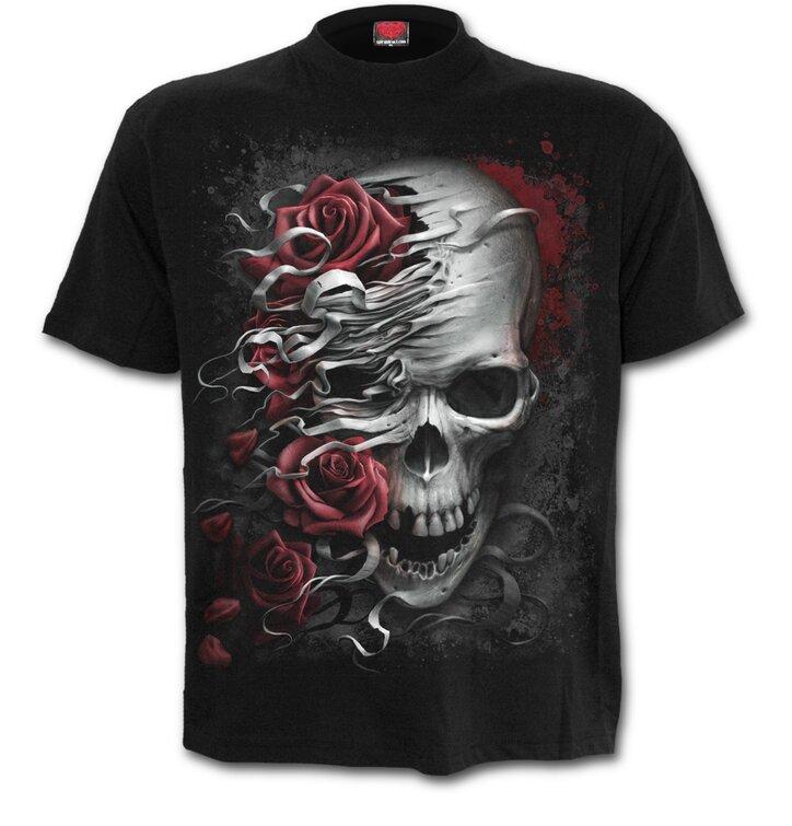 Schwarzes T-Shirt mit kurzen Ärmeln Schädel und Rosen