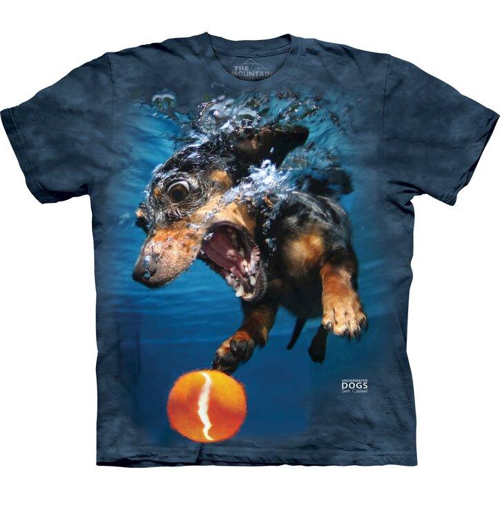 Adult T-shirt Playful Dog under Water Dachshund - blue