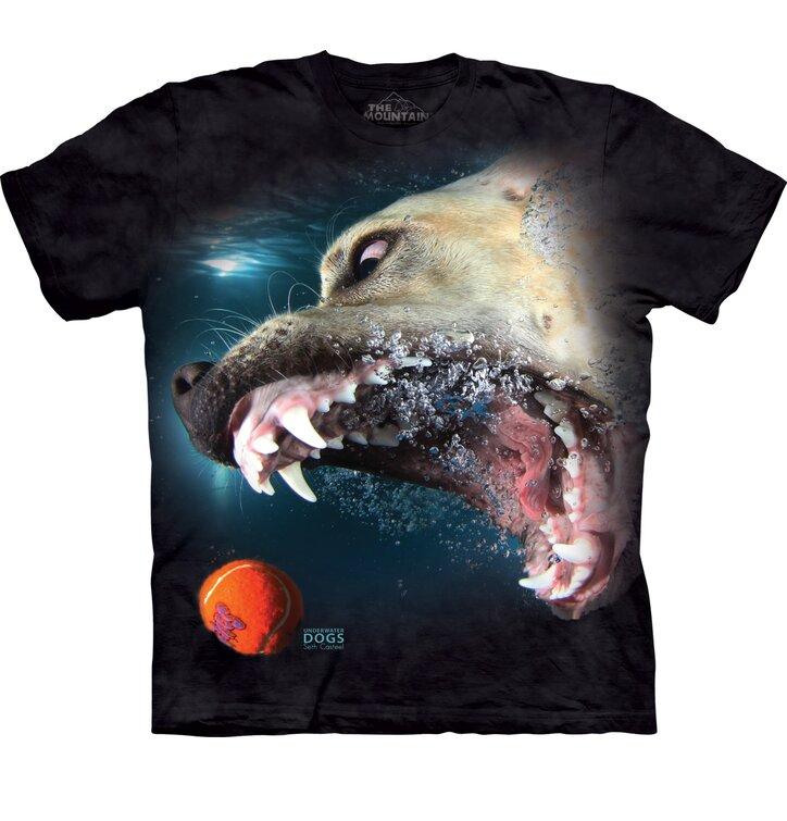 304963b409 Tričko pre dospelých Hravý psík pod vodou labrador - čierne