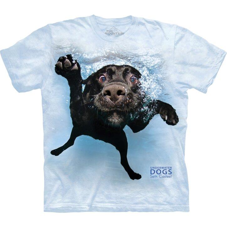 Tričko pre dospelých Hravý psík pod vodou labrador - modré