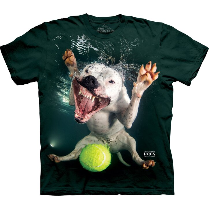 Adult T-shirt Playful Dog under Water Pitbull - dark green