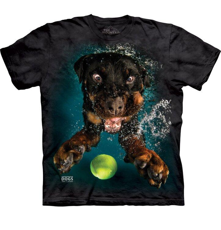 Póló felnőtteknek Játékos kutya a víz alatt Rottweiler - fekete