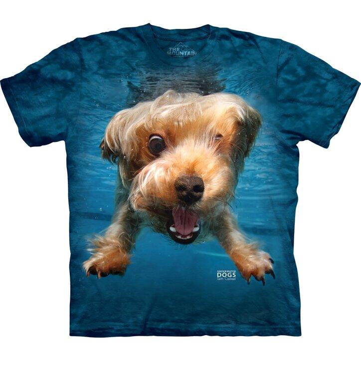 Póló felnőtteknek Játékos kutya a víz alatt yorkshirsky teriér - kék