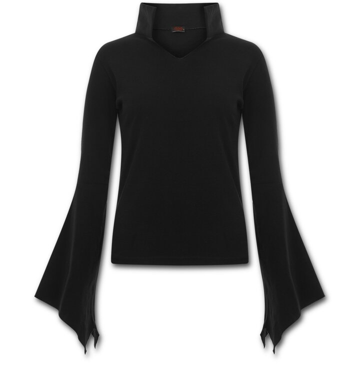 pro dokonalý a originální outfit Dámské tričko s límečkem Černé 6523bc73a9