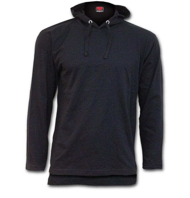 7972343ccb Fekete Vékony kapucnis pulóver | Dedoles