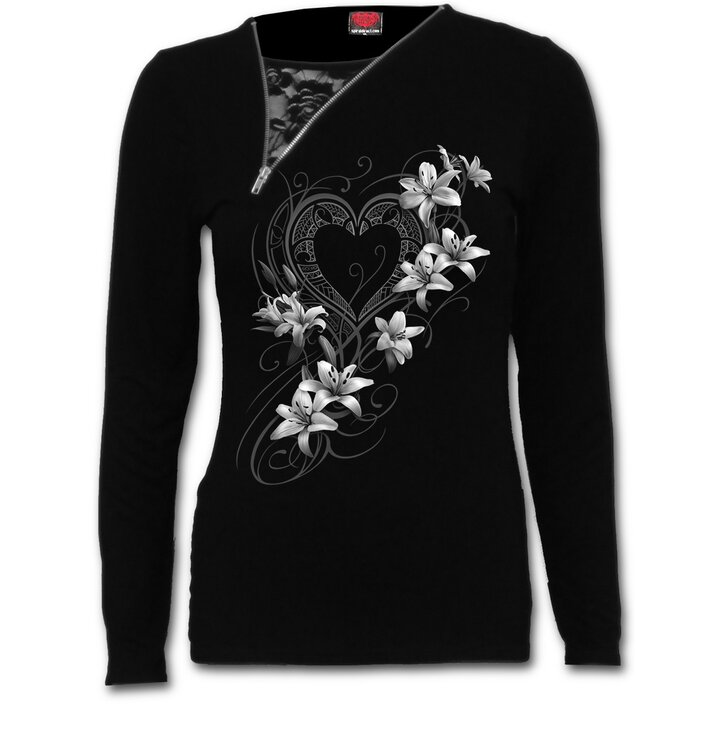T-shirt 2in1 with Zipper White Flowers