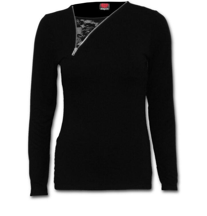 Tričko 2v1 so zipsom Čierne