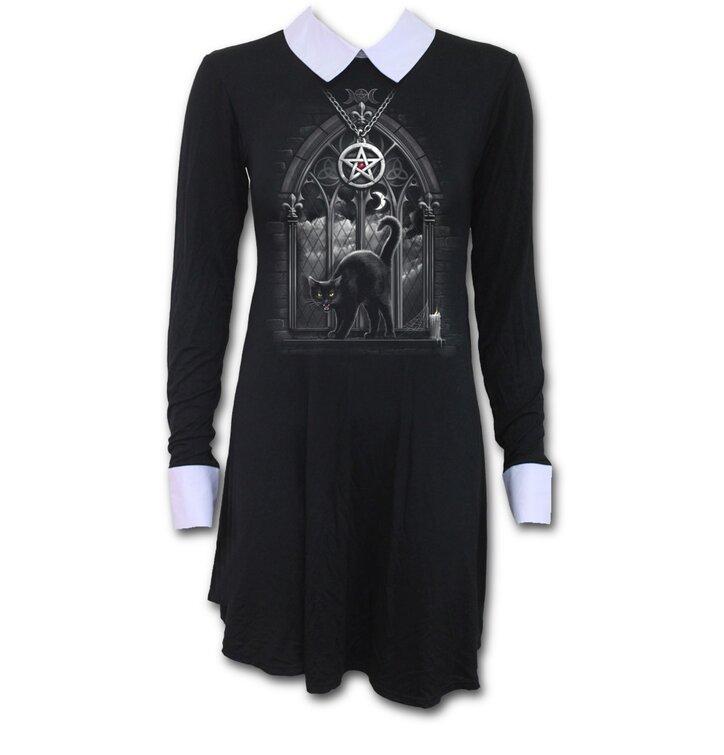 Dámske šaty s golierom s motívom Čierna mačka v okne