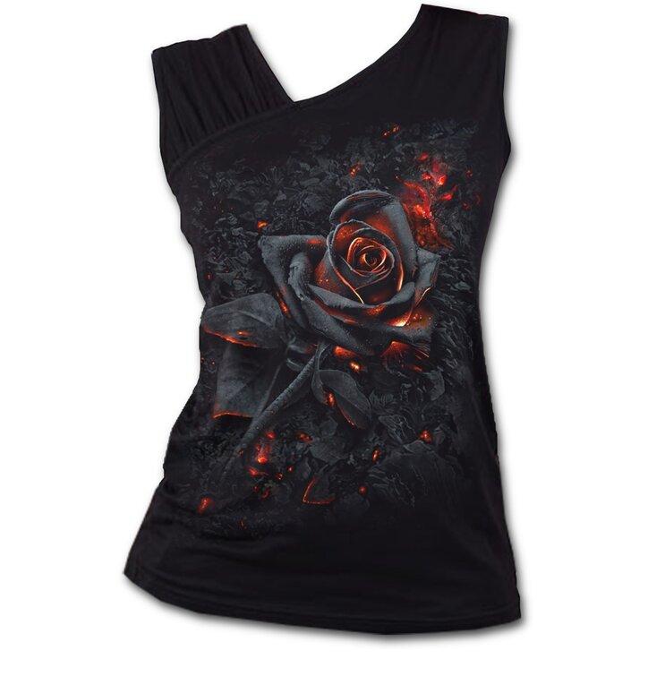 Dámske tielko s nazberkaným rukávom s motívom Ohnivá ruža