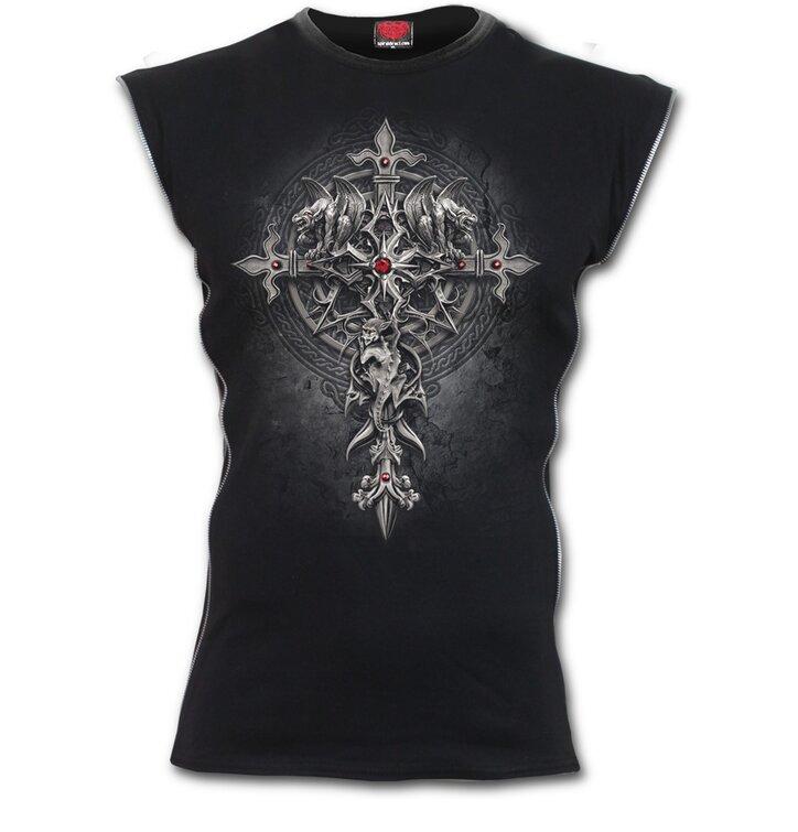 1a84eec12739 Hľadáte originálny a nezvyčajný darček  Obdarovaného zaručene prekvapí  Pánske zipsové tričko s motívom Gotický kríž