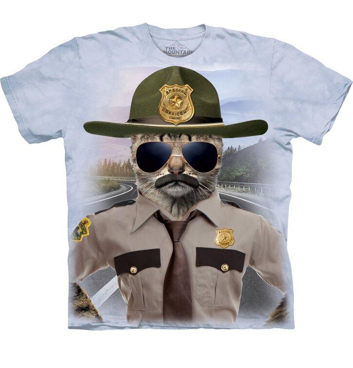 35587368903f Hľadáte originálny a nezvyčajný darček  Obdarovaného zaručene prekvapí  Tričko s krátkym rukávom Mačka policajt