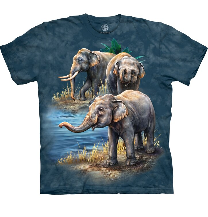T-shirt with Short Sleeve Elephants by the Water