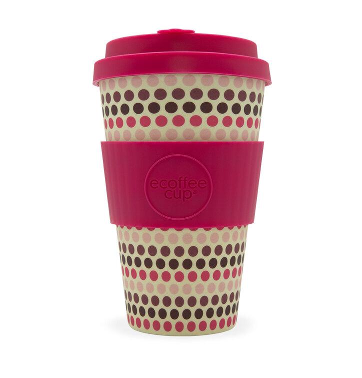 Bambusový ecoffee cup Ružové bodky