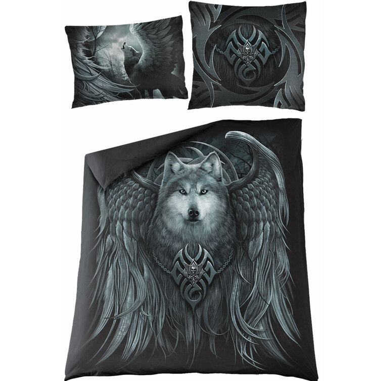 Posteľné obliečky na dovjpaplón Spiral Direct Vlk s kridlami