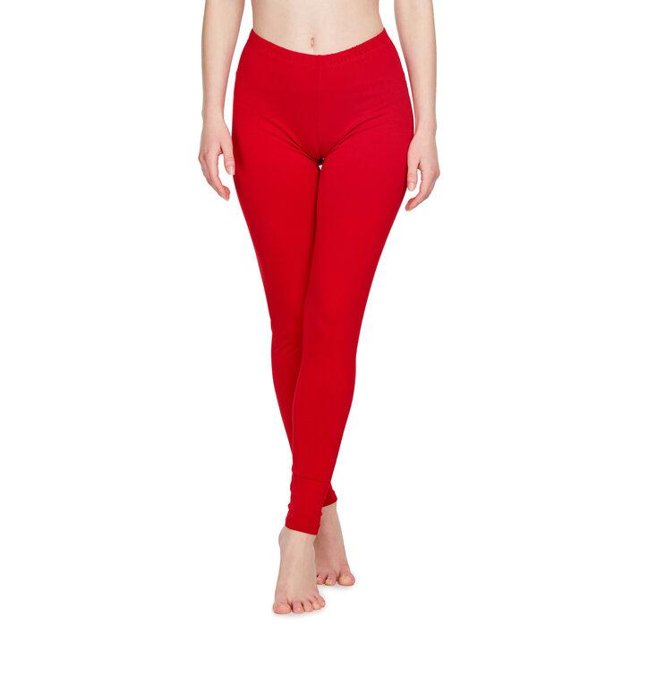 Czerwone bawełniane legginsy