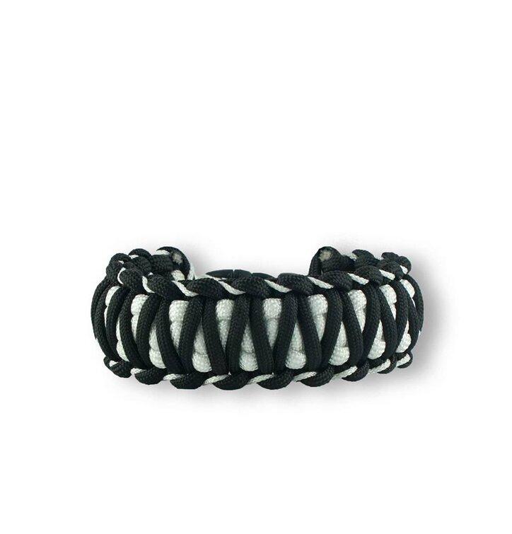 Czarno-biała bransoletka  przeżycia Paracord Zebra