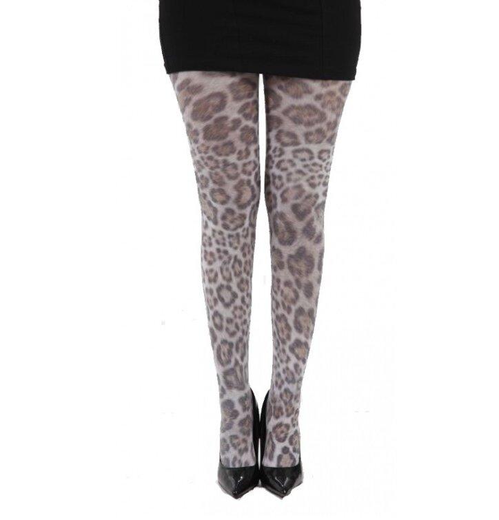 Dámske vzorované pančuchové nohavice Leopardia srsť