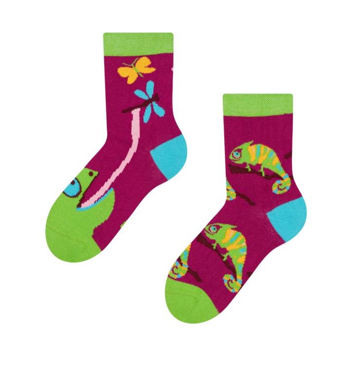 Dětské veselé ponožky Chameleón