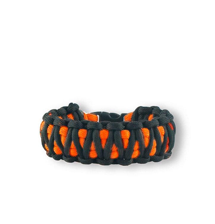 Oranžovo-černý paracord survival náramek King Cobra