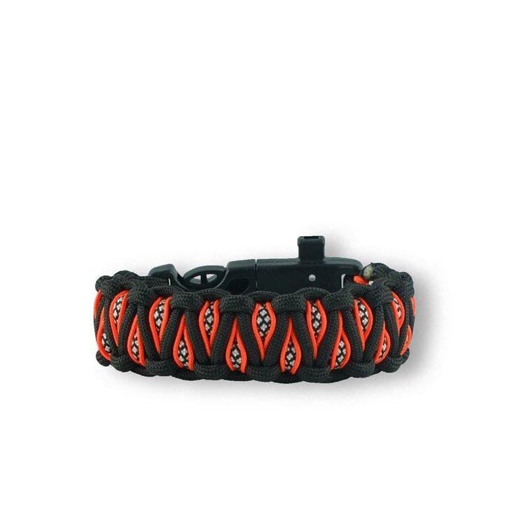 Pomarańczowo-czarna  bransoletka przeżycia Paracord z nożem, kompasem, krzesiwem i gwizdkiem  Inachis