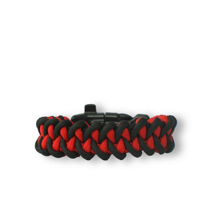 Zwart & rood Paracord-armband Haai met vuurstarter, kompas en fluitje