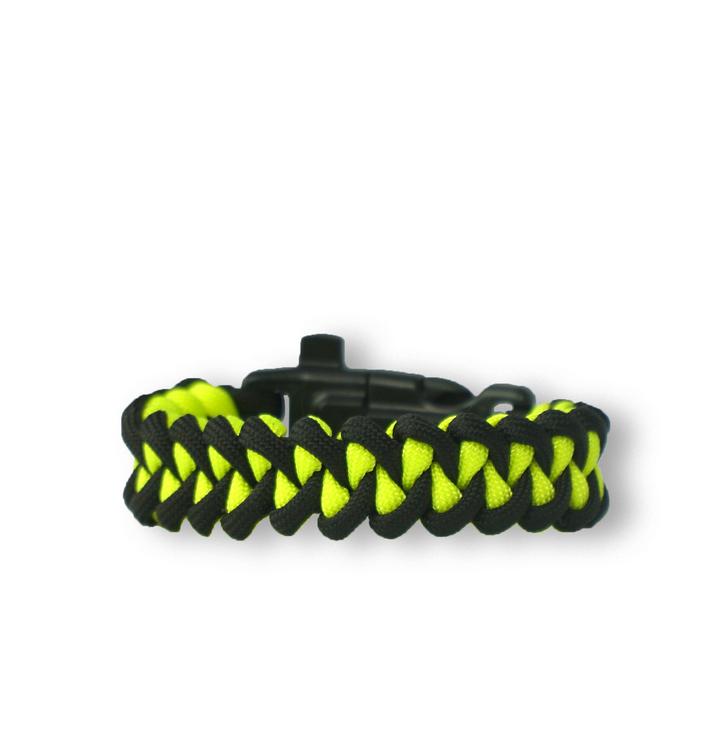 Bracelet en paracorde noir et jaune Shark avec allume-feu, boussole et sifflet