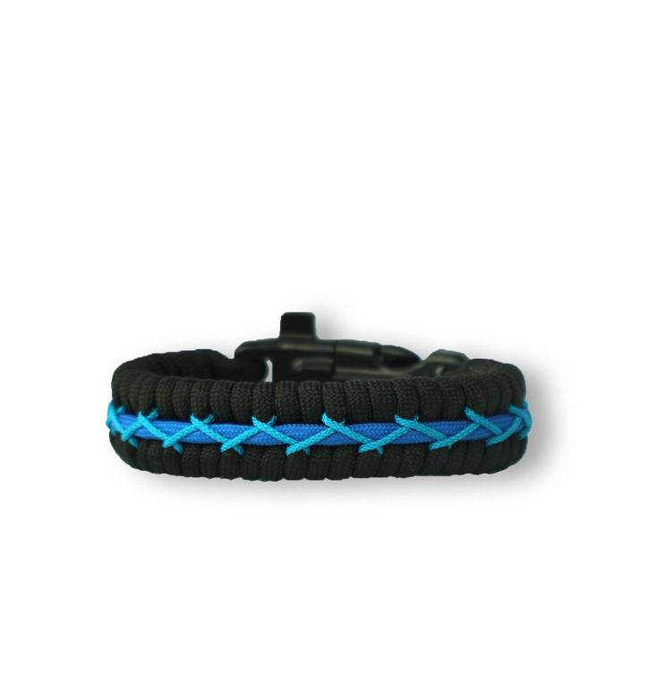 Bracelet en paracorde noir et bleu Track avec allume-feu, boussole et sifflet