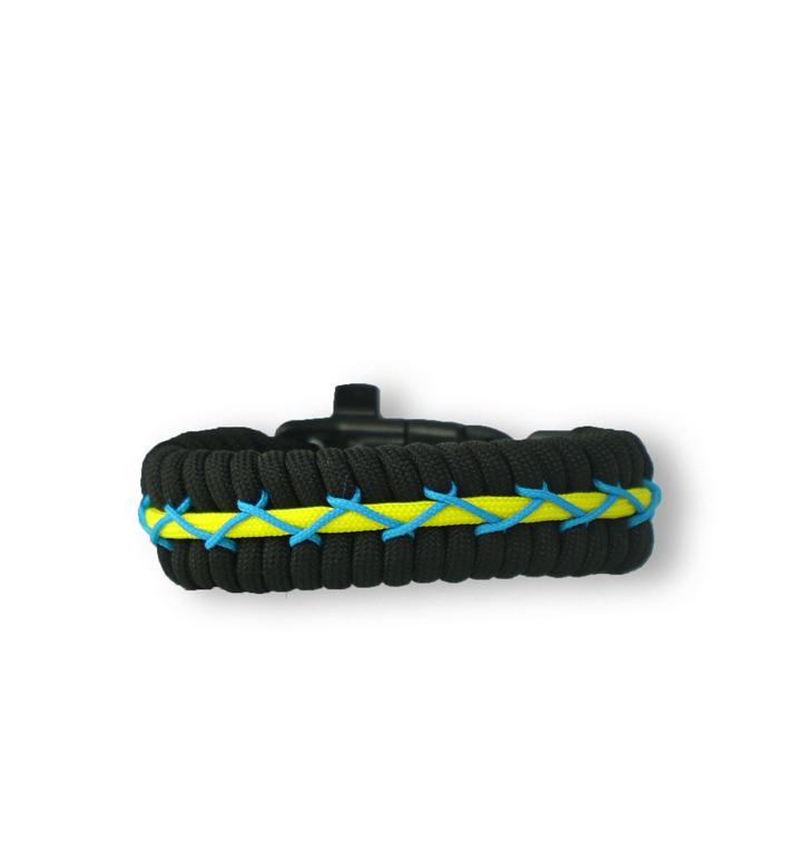 Bracelet en paracorde noir, jaune et bleu Track avec allume-feu, boussole et sifflet