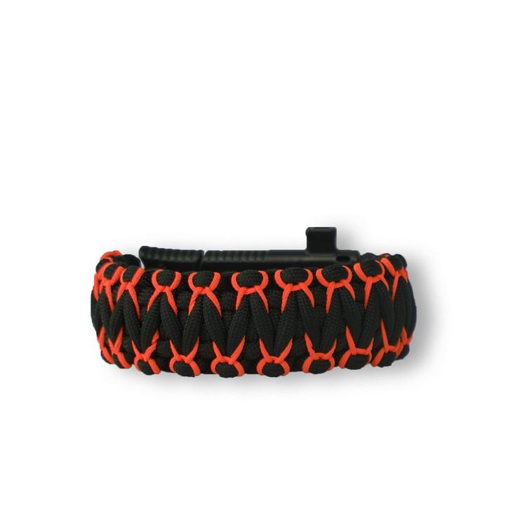 Zwart & oranje Paracord-armband Warrior met mes, vuurstarter, kompas en fluitje