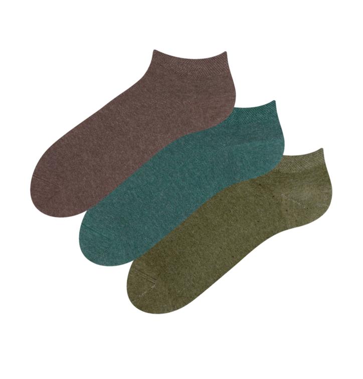3-pack lage sokken van gerecycled katoen - Hunter