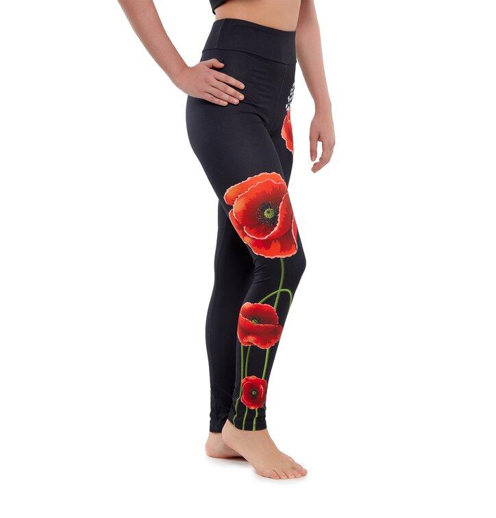 High Waisted Leggings Poppy Flower