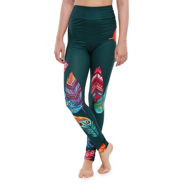 Vrolijke high-waisted leggings Kleurrijke veren
