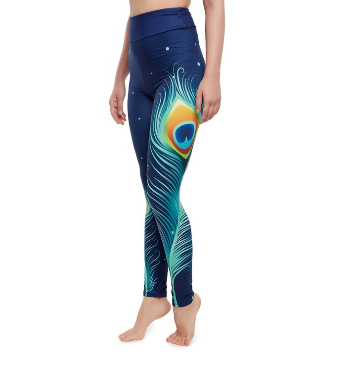 High Waisted Leggings Peacock Feathers
