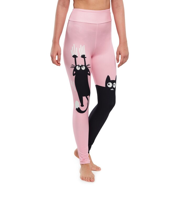 High Waisted Leggings Pink Cats