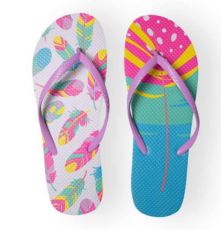 Vrolijke Flip Flops - Kleurrijke veren
