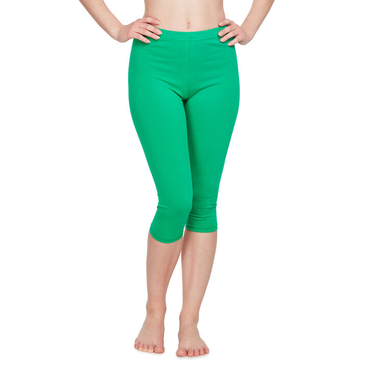 Cotton Mid Leggings Green