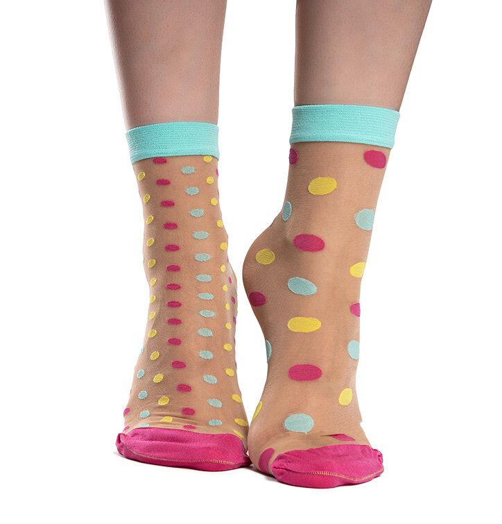 Vrolijke nylon sokken Dot World